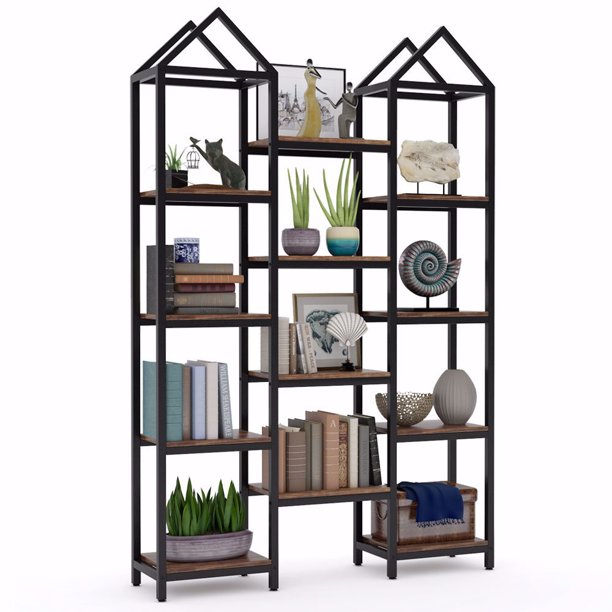 Tribesigns Rustic Triple Wide Bookshelf, 12 Open Shelves Etagere Bookcase Vintage Industrial Book Shelves Wood and Metal Display Shelf Storage Organizer for Home Office, Rustic Brown