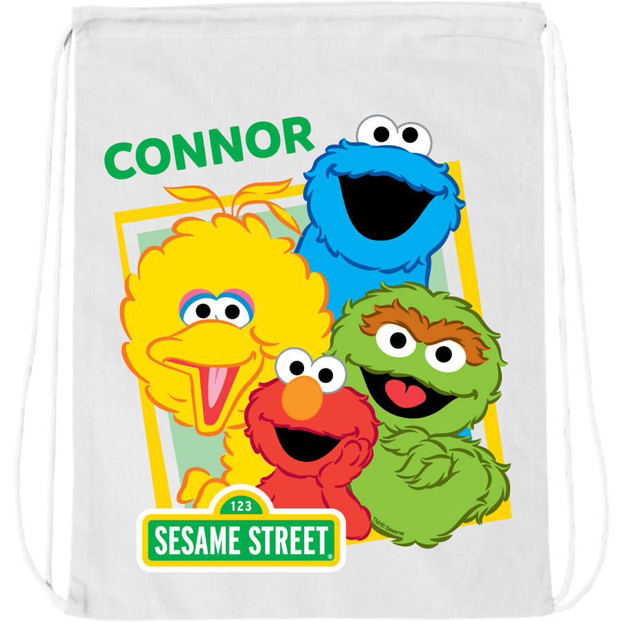 Personalized Sesame Street Friends White Drawstring Bag