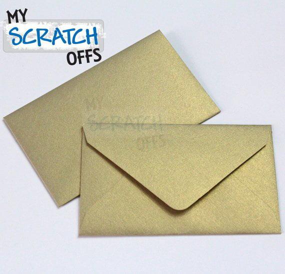 Metallic Gold Mini Scratch Off Game Card Envelopes - 50 Envelopes