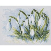 "RTO Counted Cross Stitch Kit 9.75""X7.5""-Early Snowdrops (14 Count)"