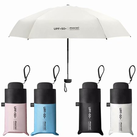 71377061f643 Mini Anti-UV Sun Rain Protection Windproof Parasols 5 Folding Sun Umbrella,  Black
