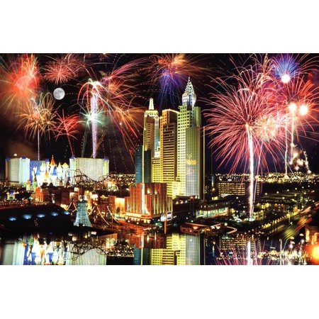 Las Vegas Fireworks Photo Art Print Poster - 36x24 - Halloween Shops Las Vegas