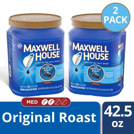 (2 Pack) Maxwell House Original Roast Medium Ground Coffee, Caffeinated, 42.5 oz Canister