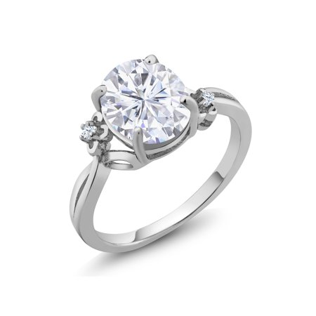 925 Silver Ring Forever Brilliant GHI Oval Created Moissanite 3.00ct DEW