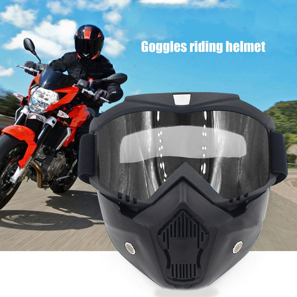 Riding Protective Helmet Detachable Mask Goggles Flexible Face Mask Goggles by
