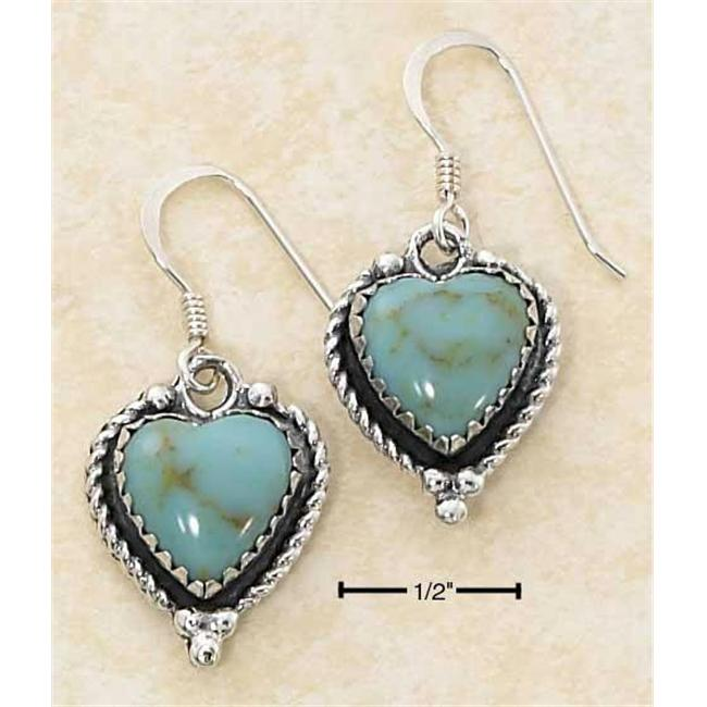 Sterling Silver Turquoise Heart Earrings with Roped Edges On French Wire S