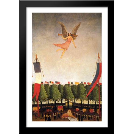 Liberty Inviting Artists To Take Part In The 22Nd Exhibition Of The Society Of Independent Artists 28X40 Large Black Wood Framed Print Art By Henri Rousseau
