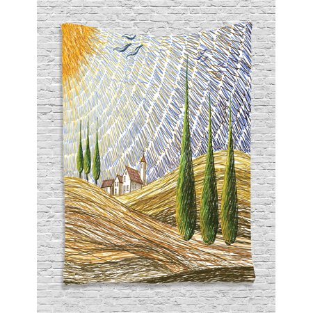 Tuscan Decor Wall Hanging Tapestry, Van Gogh Style Italian Valley Rural Fields With European Scenery Digital Painting Artsy Print, Bedroom Living Room Dorm Accessories, By Ambesonne