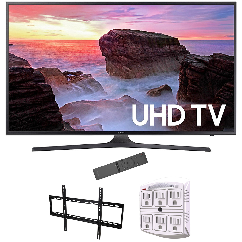 "Samsung 65"" 4K Ultra HD Smart LED TV 2017 Model UN65MU6300FXZA with Vivitar Low Profile Flat TV Wall Mount 50inch-80 inch & Stanley 6-Outlet Surge Adapter with Night Light"