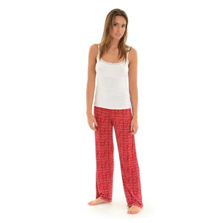 3b7c5b1ce9 Int Intimates - Womens Red Pajama Pants and White Lace Cami Top 2 Piece  Sleepwear Set Hearts - Walmart.com