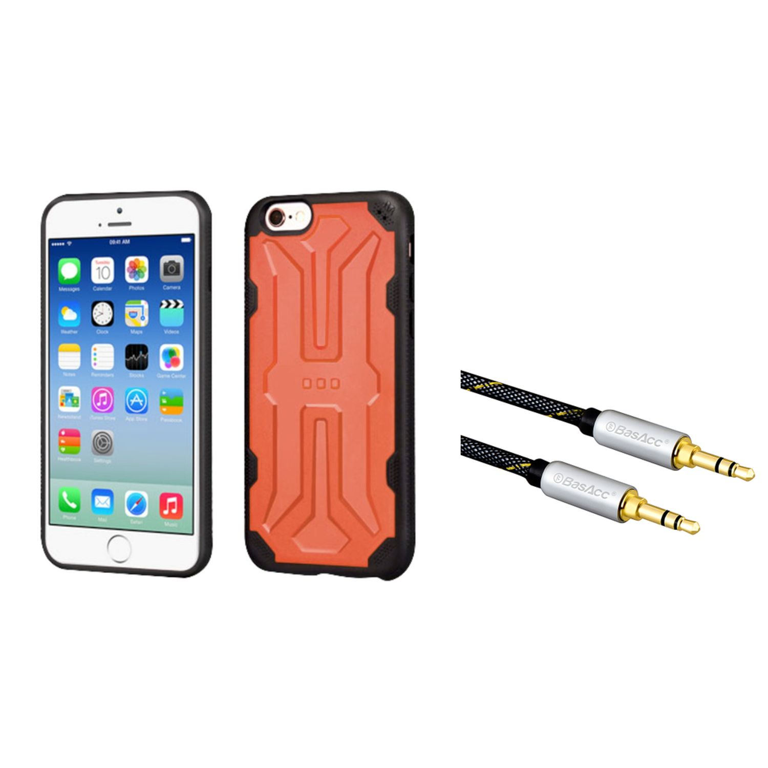 Insten Hard TPU Cover Case For Apple iPhone 6/6s - Orange/Black (with 3.5mm Audio Extension Cable M/M)