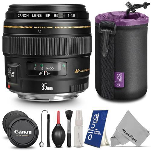 Canon EF 85mm f/1.8 USM Medium Telephoto Lens w/ Essential Bundle - Includes: Altura Photo Neoprene Lens Pouch, Camera Cleaning Set
