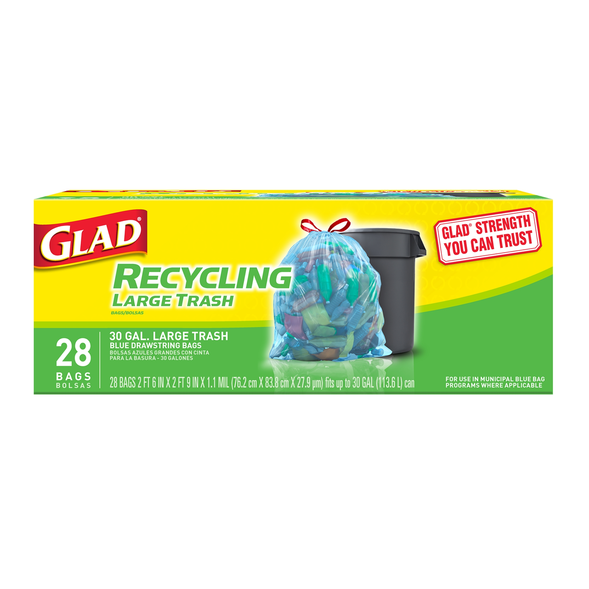Glad Recycling Large Drawstring Blue Trash Bags - 30 Gallon - 28 Count