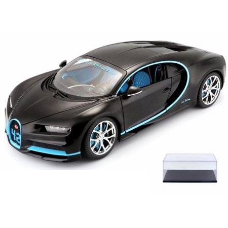 Diecast Car & Display Case Package - Bugatti Chiron #42, Matte Black w/ Blue Detail - Maisto 31514BK42 - 1/24 Scale Diecast Model Toy Car w/Display Case