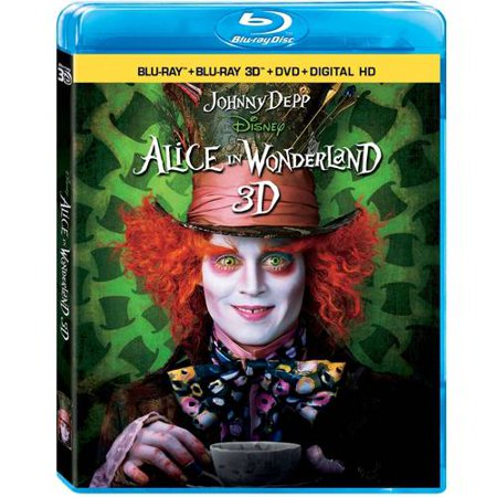 Alice In Wonderland  Live Action   3D Blu Ray   Blu Ray   Dvd   Digital Hd