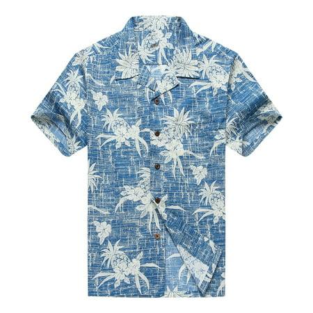 Hawaiian Shirt Aloha Shirt in Vintage Blue Pineapple