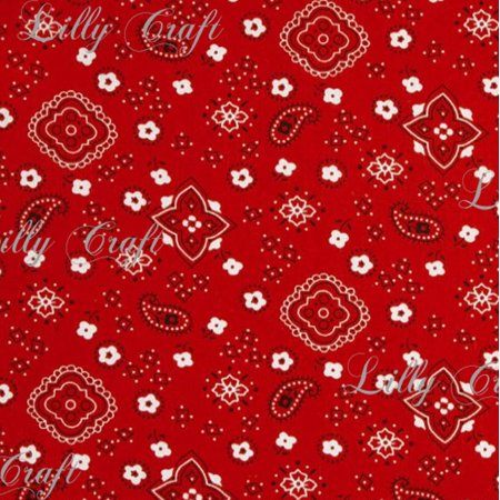 Red Poly Cotton Print Bandana 60 Inch Fabric by the Yard (Red Bandannas)