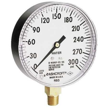 Pressure Gauge, 0 to 300 psi, 3-1/2In 100 Psi Pressure Gauge