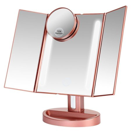 Leju Makeup Mirror   Natural Daylight Lighted Vanity Mirror With Touch Screen Dimming  Detachable 10X Magnification Spot Mirror  Two Power Supply Mode  Rose Gold