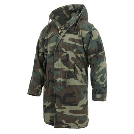 Woodland Nylon Parka - Rothco Vintage Camouflage M-51 Coat Fishtail Parka Jacket, Woodland Camo