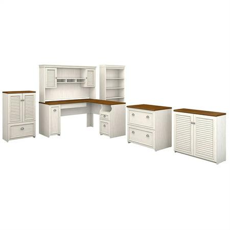 Bush Fairview L Shaped Desk Office Set in Antique White