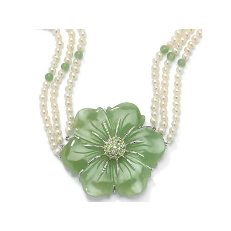 Jade Silver Necklace - 1.20 TCW Jade and Cultured Freshwater Pearl Necklace in .925 Sterling Silver