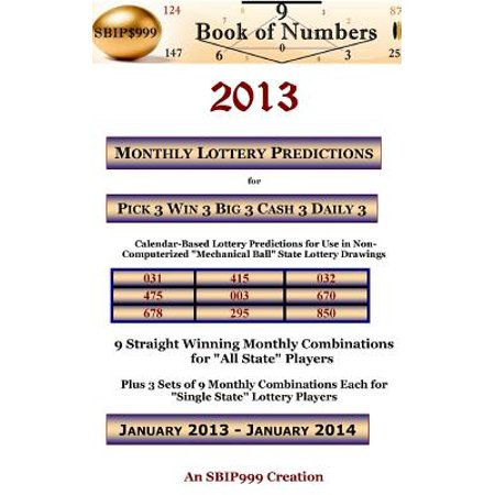 2013 Monthly Lottery Predictions For Pick 3 Win 3 Big 3 Cash 3 Daily 3  Calendar Based Lottery Predictions For Use In Non Computerized  Mechanical Bal