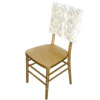 3D Rosette Satin Square Top Chivari Chair Cap, Navy Blue