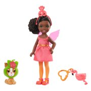 Barbie Club Chelsea Dress-Up Doll In Flamingo Costume, 6-Inch Brunette With Pet Kitten And Accessories Doll Playset