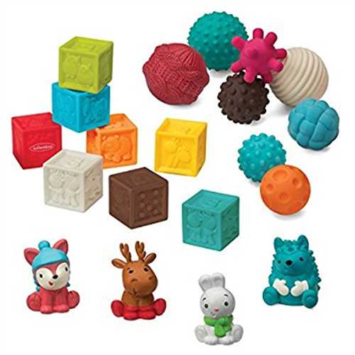 Infantino Go Gaga 20 Piece Balls Blocks & Buddies Squeeze Stack Play Teething Set by Infantino