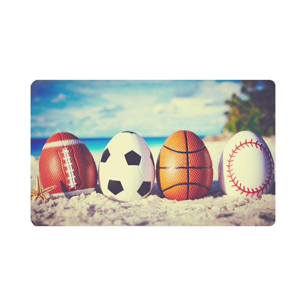MKHERT Easter Symbol Sport Balls Eggs On Ocean Beach