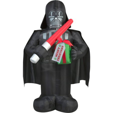 Gemmy Airblown Inflatables Christmas Inflatable Darth Vader with Gift, 5'
