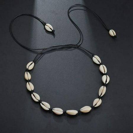 KABOER Bohemian Pearl Shell Beads Necklaces Beach Choker Handmade Hawaiian Clavicle Necklace Adjustable Shell Chokers for Women Beaded Shell Cross