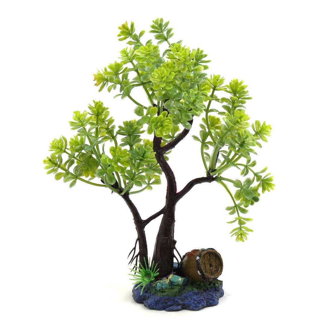 Green Plastic Tree Fishbowl Aquarium Decorative Plant Waterscape Decor w/ Stand - image 3 de 3