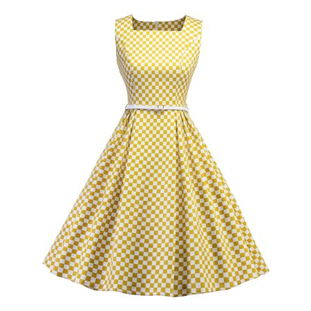 Women 50s Swing Vintage Retro Pinup Rockabilly Evening Party Belt Dress Plaid Sleeveless Housewife Dance Prom Ball Gown](Plaid Party Dresses)