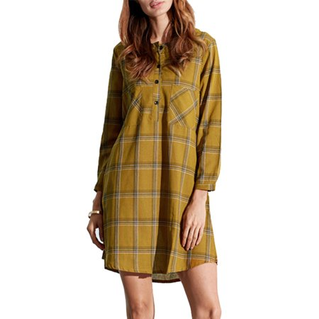 - Fashion Long Sleeve Checkered Clearance Mini Dresses For Women