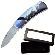 "Joy Enterprises FP20704 Fury Animal Litho Folding Pocket Knife with Presentation Box, 3.5"", Eagle"