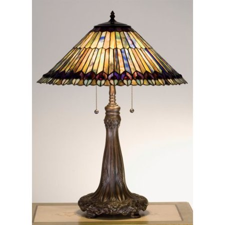 Meyda Tiffany 27562 Stained Glass / Tiffany Accent Table Lamp from the Jeweled Peacock Collection