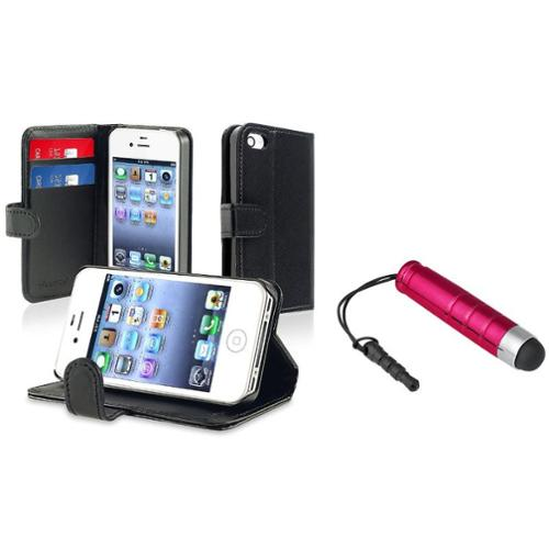 Insten Leather w/Credit Card Wallet Black Skin Case Cover+Stylus Red For iPhone 4 4S
