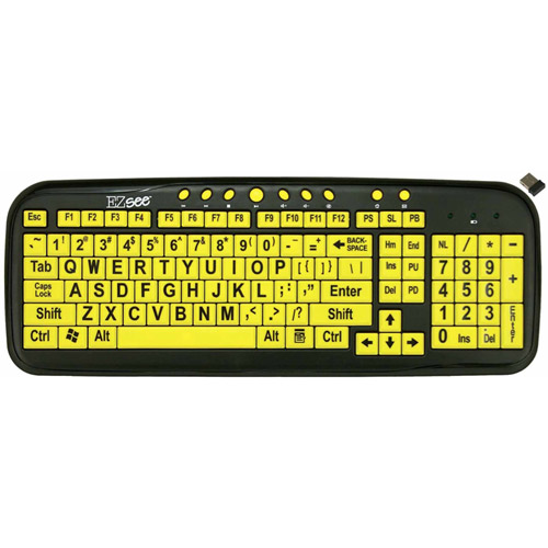 EZSee Low Vision Large Print Keyboard, Yellow/Black