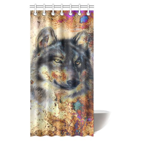 MYPOP Animal Wolf Shower Curtain Painting With Colorful Background Polyester Fabric Bathroom