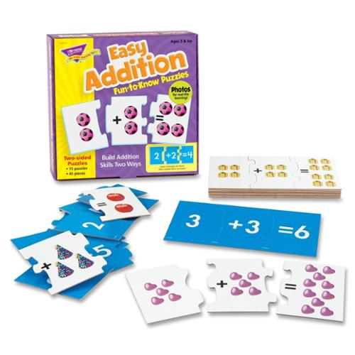 Trend Easy Addition Fun-to-know Puzzles - Theme/subject: Learning - Skill Learning: Addition, Number Recognition - 45 Pieces (T36013)