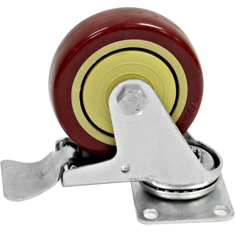 "Seismic Audio 1 New LOCKING 4"" SWIVEL CASTER Heavy Duty Rubber Wheel - Red-Locking-Caster"