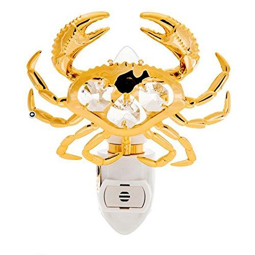 Crab 24k Gold Plated Spectra Crystals by Swarovski Night Light