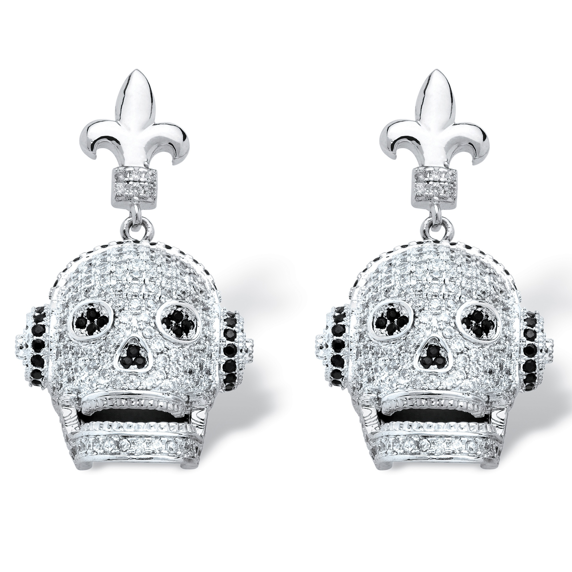 2.25 TCW Micro-Set Cubic Zirconia Laughing Skull with Headphones Earrings in Silvertone