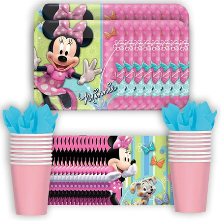 Disney Minnie Mouse Bows Party Supplies Pack Including Plates, Pink Cups and Napkins- 16 Guest