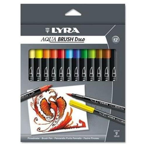 Lyra Dual Tip Marker, Assorted, 12 Per Pack - Broad, Fine Marker Point Type - Brush Marker Point Style - Assorted Ink - 12 / Pack (6521120)