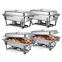 BestEquip Chafing Dish Set of 4 Stainless Steel Chafer Full Size 8 Quart Chafing Dishes for Catering Buffet Warmer Tray Kitchen Party Dining