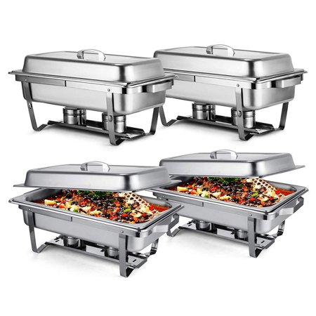 BestEquip Chafing Dish Set of 4 Stainless Steel Chafer Full Size 8 Quart Chafing Dishes for Catering Buffet Warmer Tray Kitchen Party - Chafing Dish Holder