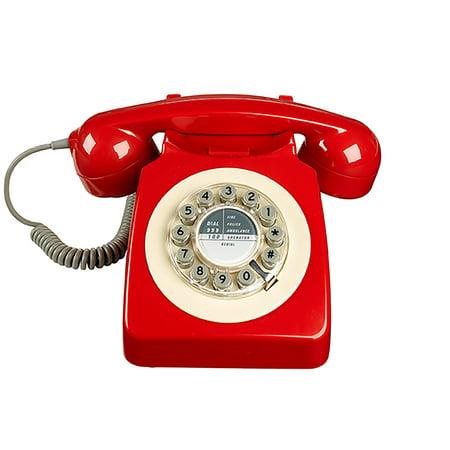 Ruby Red Phone - Retro 746 Series Rotary Corded Landline Phone